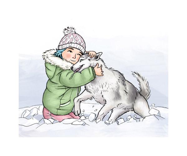 mädchen-husky-schnee