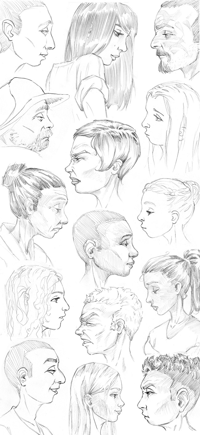 side-faces-sketches